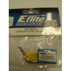 E-flite Lithium Polymer Batterij 2 S , 7,4 Volt ,120mAh ,20C